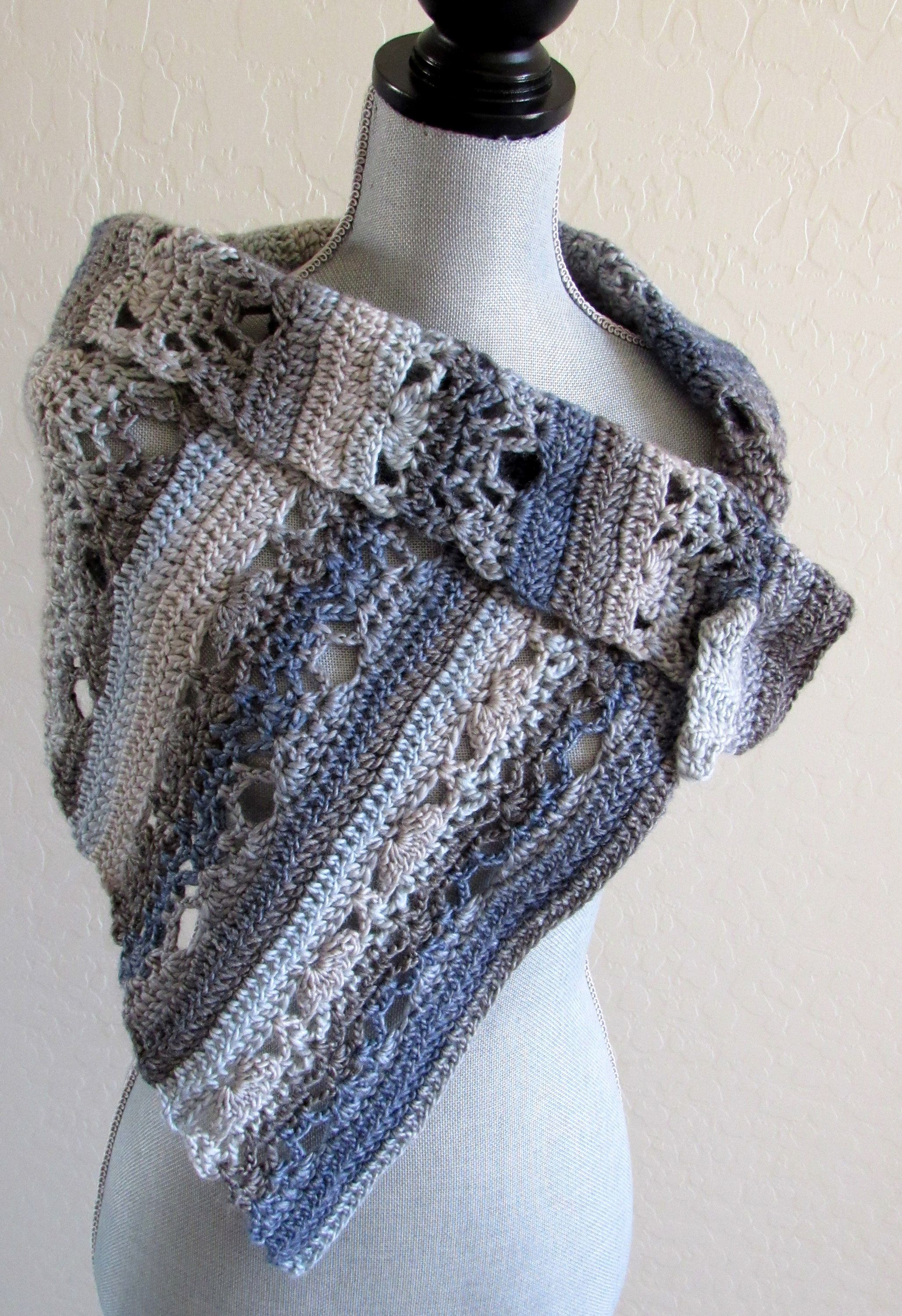 Photo of Crocheted Wrap and Scarf in Blue and Gray