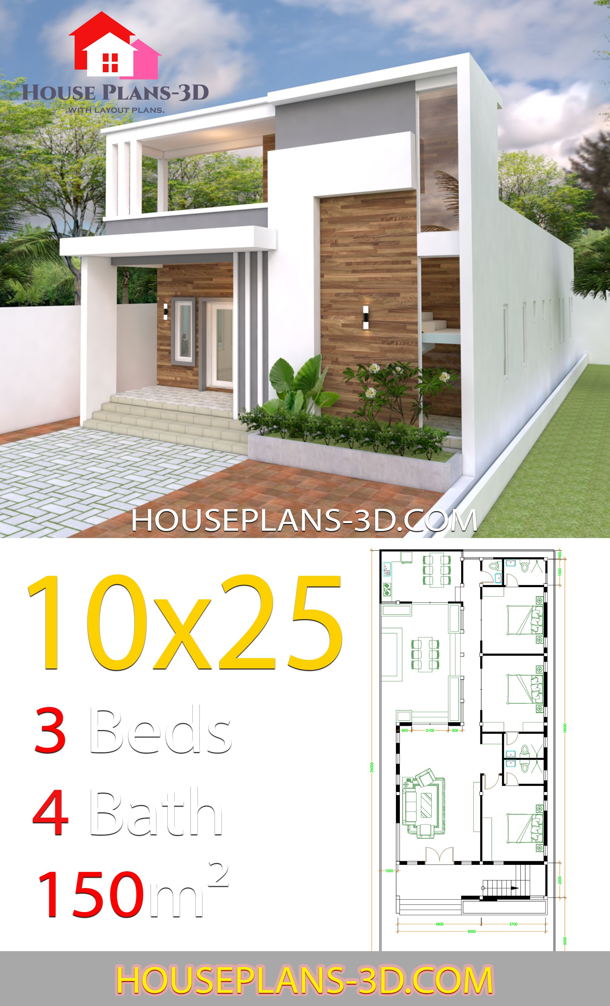 House Design Plans 10x25 With 3 Bedrooms House Plans 3d In 2020 Duplex House Design Single Floor House Design Model House Plan