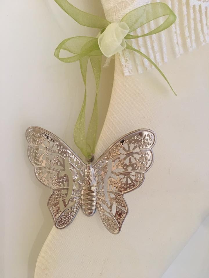 """€ 60 CALZA SHABBY CHIC """"ALBA"""" con decori (farfalla) in metallo"""