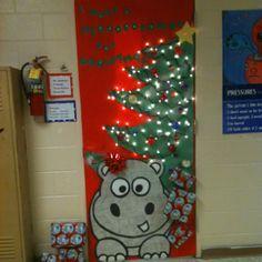 Christmas Door Decoration Ideas Tree With Hippo