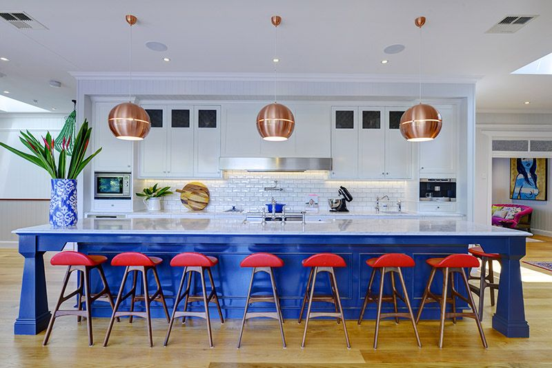 Blue island with copper ball pendant lighting