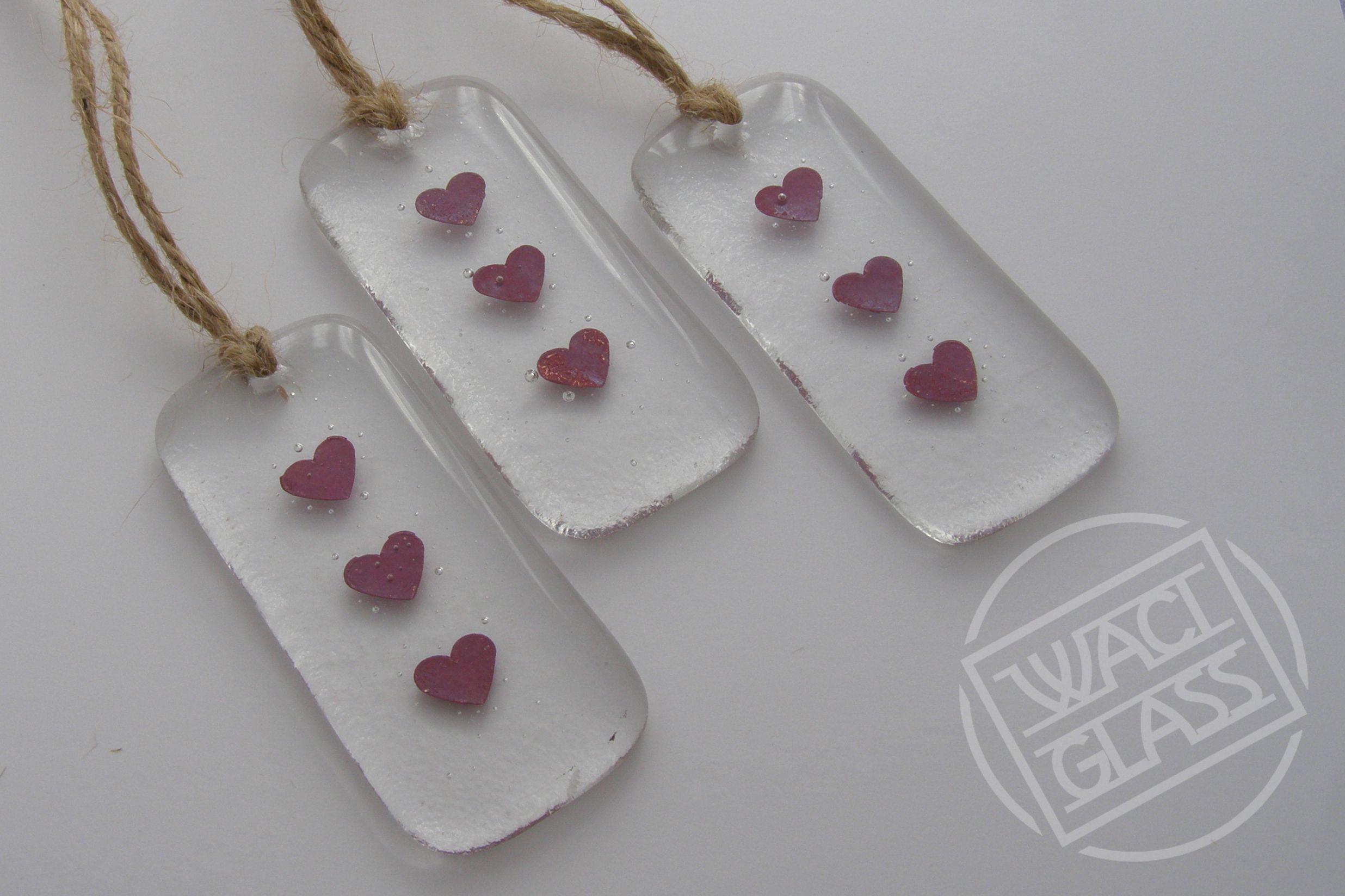 Three Copper Hearts Mini Fused Glass Hangers