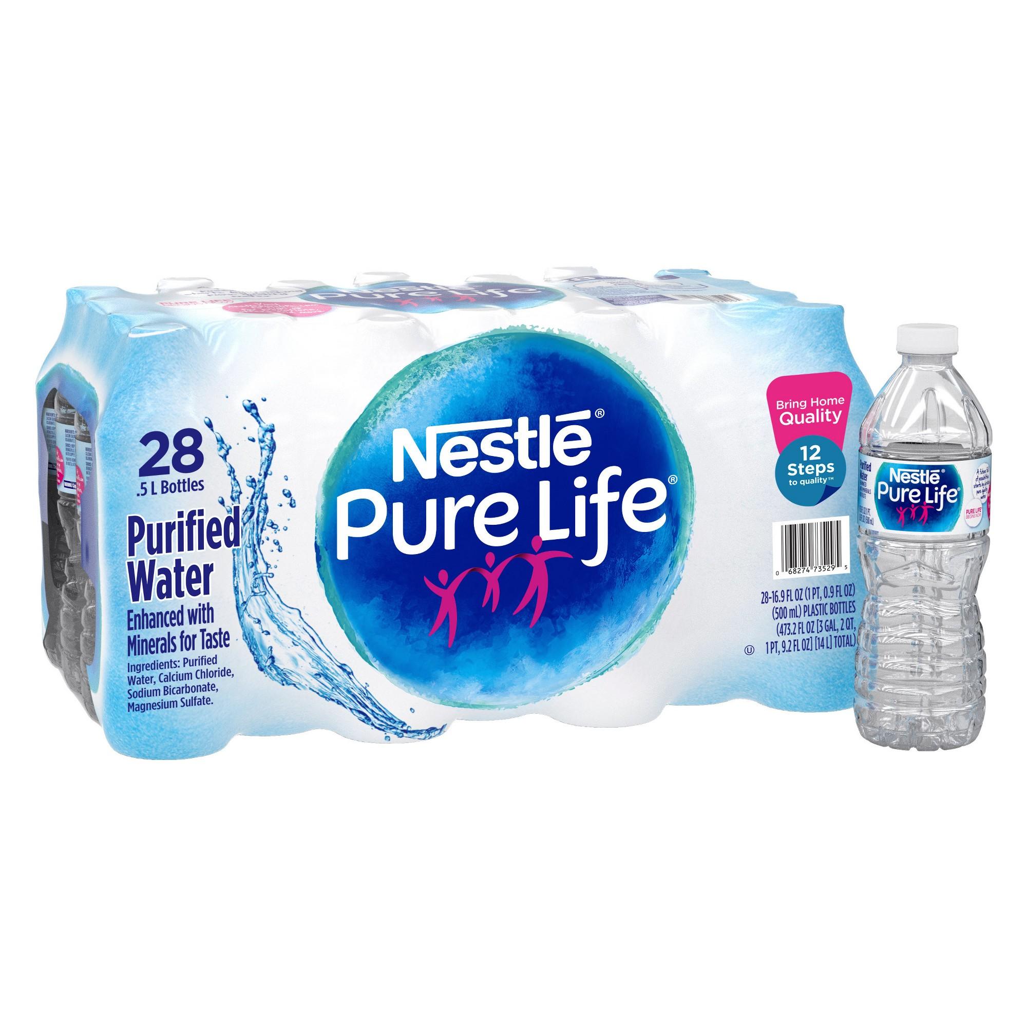 Nestle Pure Life Purified Water 28pk 0 5 L Bottles Nestle Pure Life Water Nestle Pure Life Pure Life Water