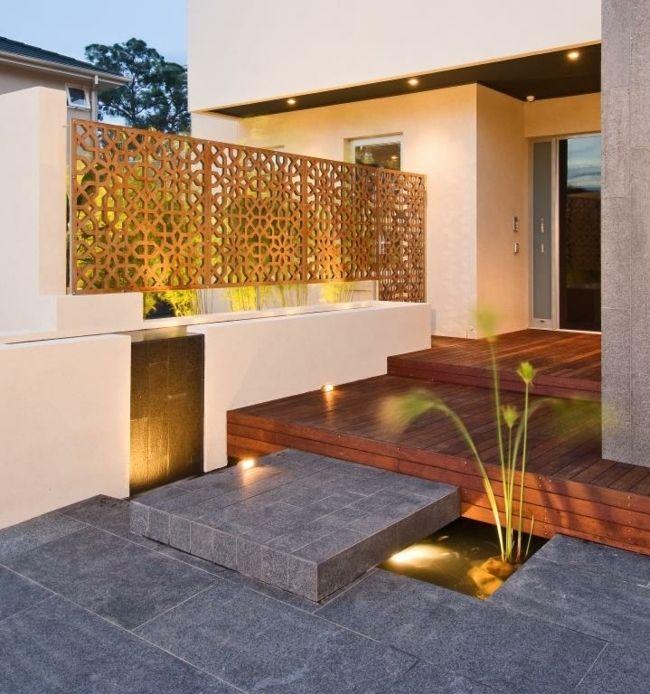 Terrasse Gartenmauer Haus Eingang