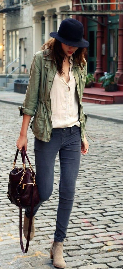 fall fashion  green jacket  denim  fashion style