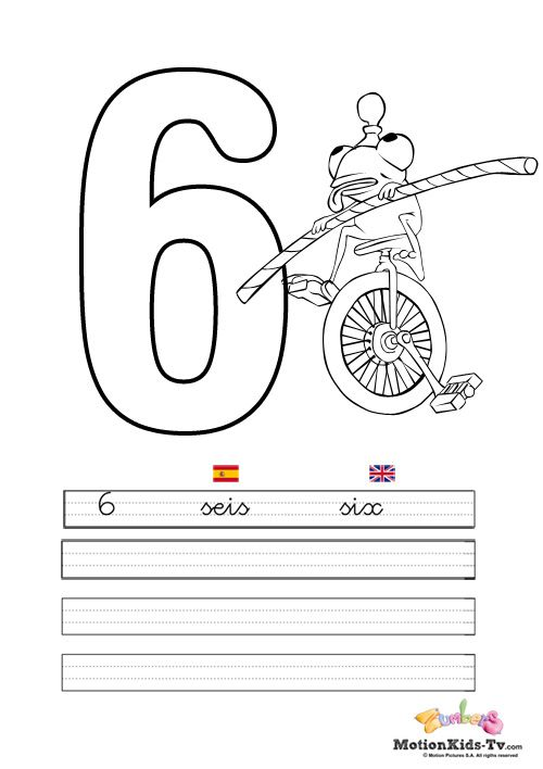 Pintas, educativos aprender numeros SEIS -- Coloring pages, learning ...
