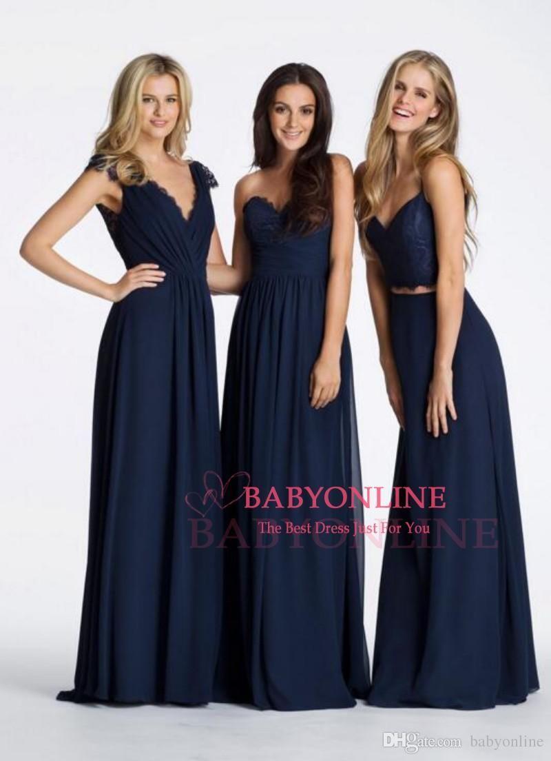 Navy Blue Boho Bridesmaid Dress