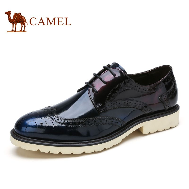Camel 2016 new design men's office shoes cow leather shoes Pibuluoke carved  British style fashion men