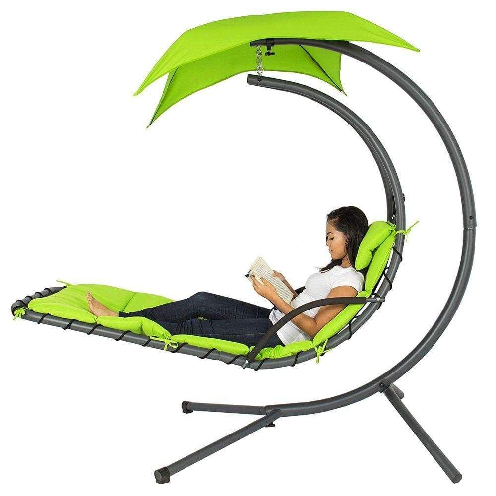 Outdoor Hanging Curved Chaise Lounge Chair Swing Hanging Hammock Chair Swinging Chair Chaise Lounge Chair