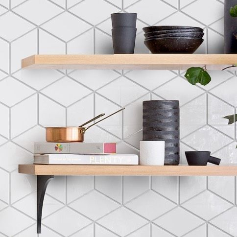 Our 8 Rhombus Tile Ceramics Kitchendesign Hgtvfixerupper Remodel Erinadamsdesigns Modern Kitchen Tile Backsplash Modern Kitchen Tiles Rhombus Tile
