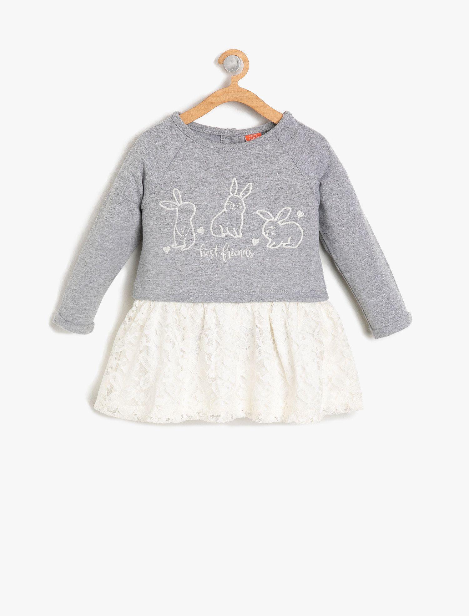Gri Kiz Cocuk Baskili Elbise 9kmg89148ok023 Koton Elbise Baby Outfits Baskili Elbise