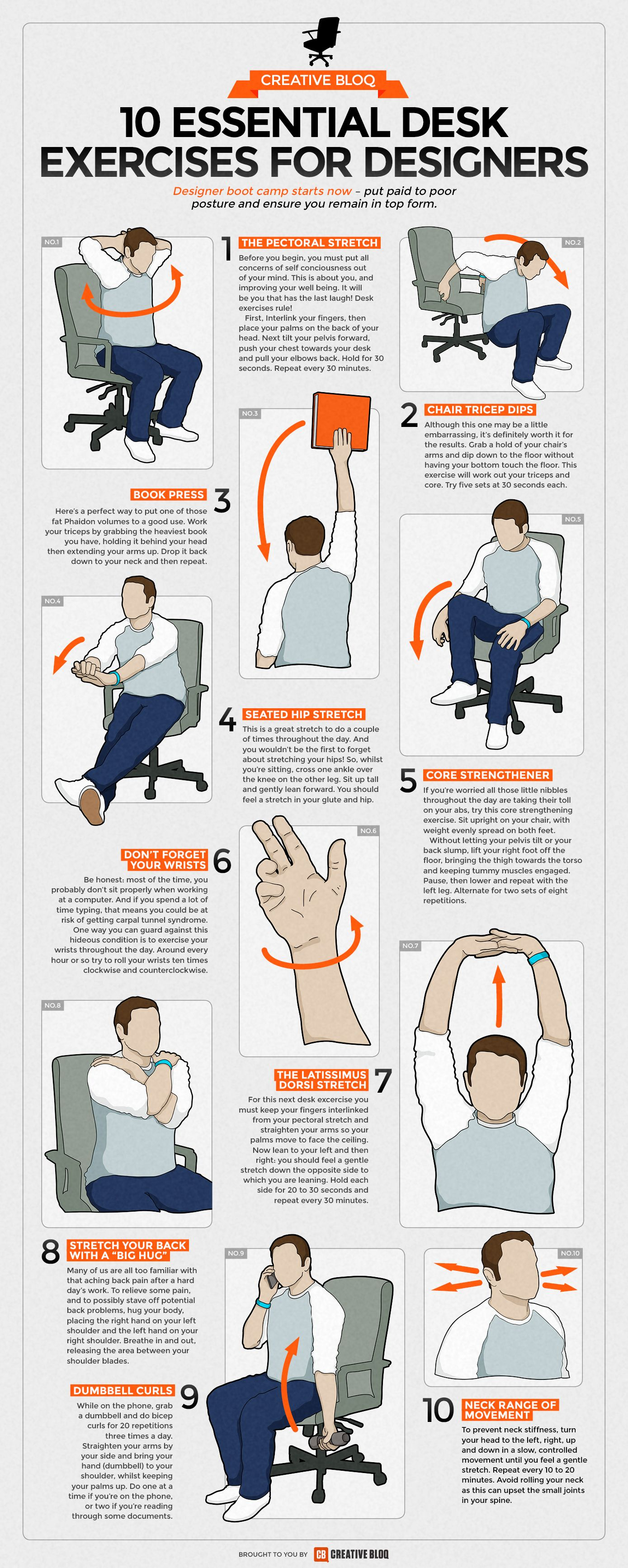 Desk Exercises Infographic 10 Essential Routines For