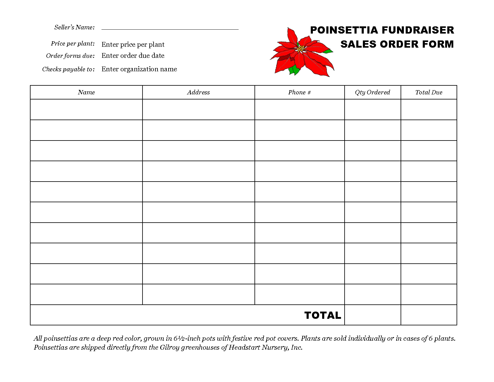 free printable order form templates