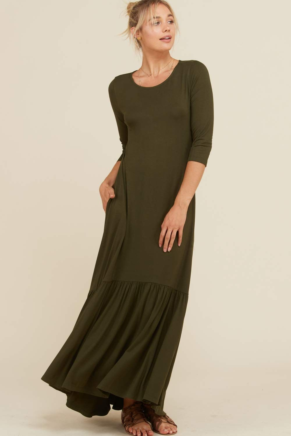1dccacca5165c4 Annabelle Womens 3 4 Sleeve Long Maxi Dresses With Side Pockets – DACC