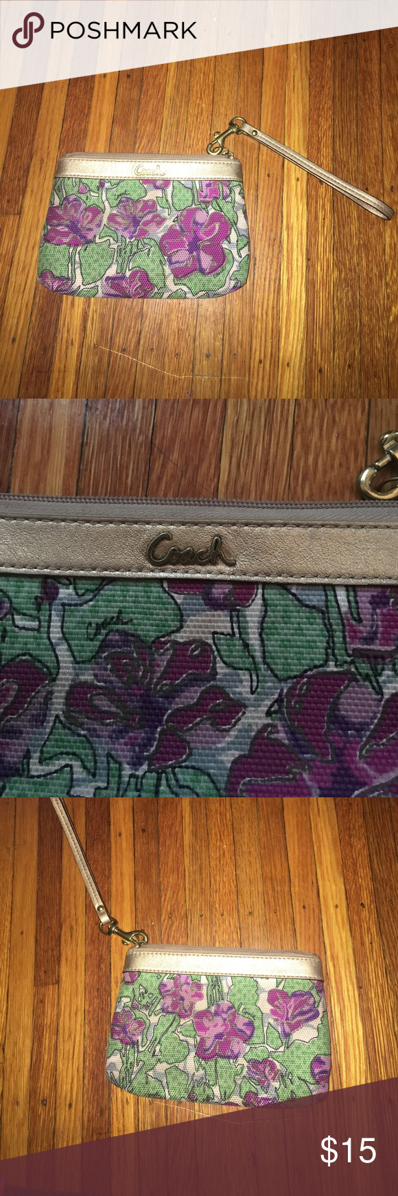 Coach wristlet Floral coach whistle! I don't have the tags anymore but it's still in good condition!  Slight light stains on the inside. Make an offer! Coach Bags Clutches & Wristlets