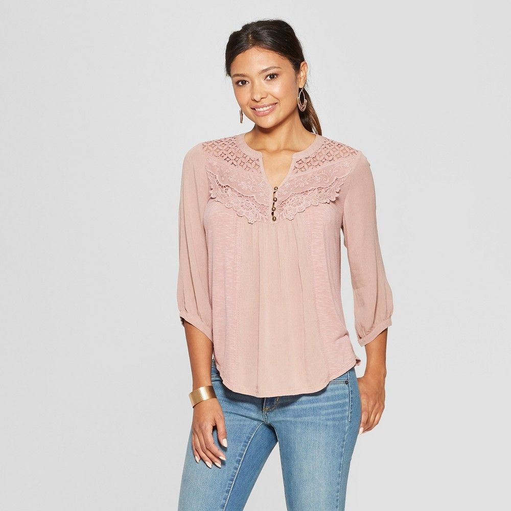 6b9aebf984 Women s 3 4 Sleeve Knit Back Blouse - Knox Rose Pink S in 2019 ...