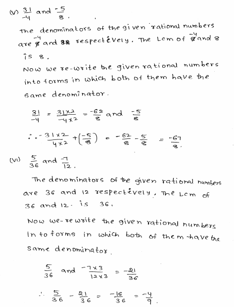 Rational Numbers RD Sharma Class 8 Solutions Exercise 1.1 Rational Numbers,  Class 8, Solutions