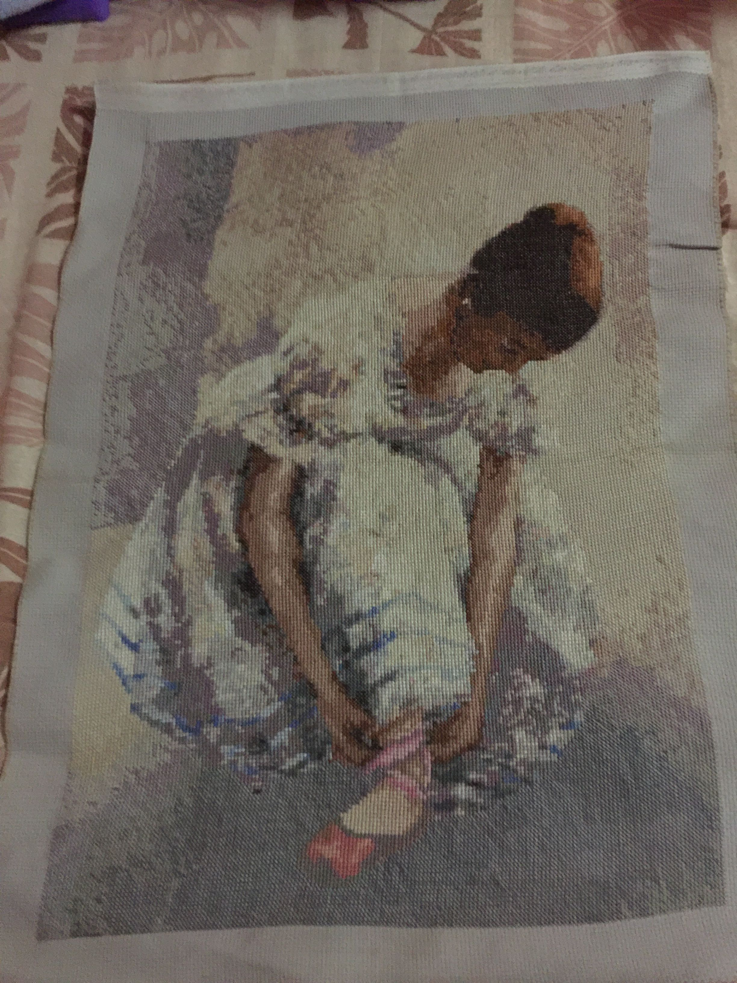Ballet dancer finished cross stitch work. I forgot the name for this piece...anyway I love this work