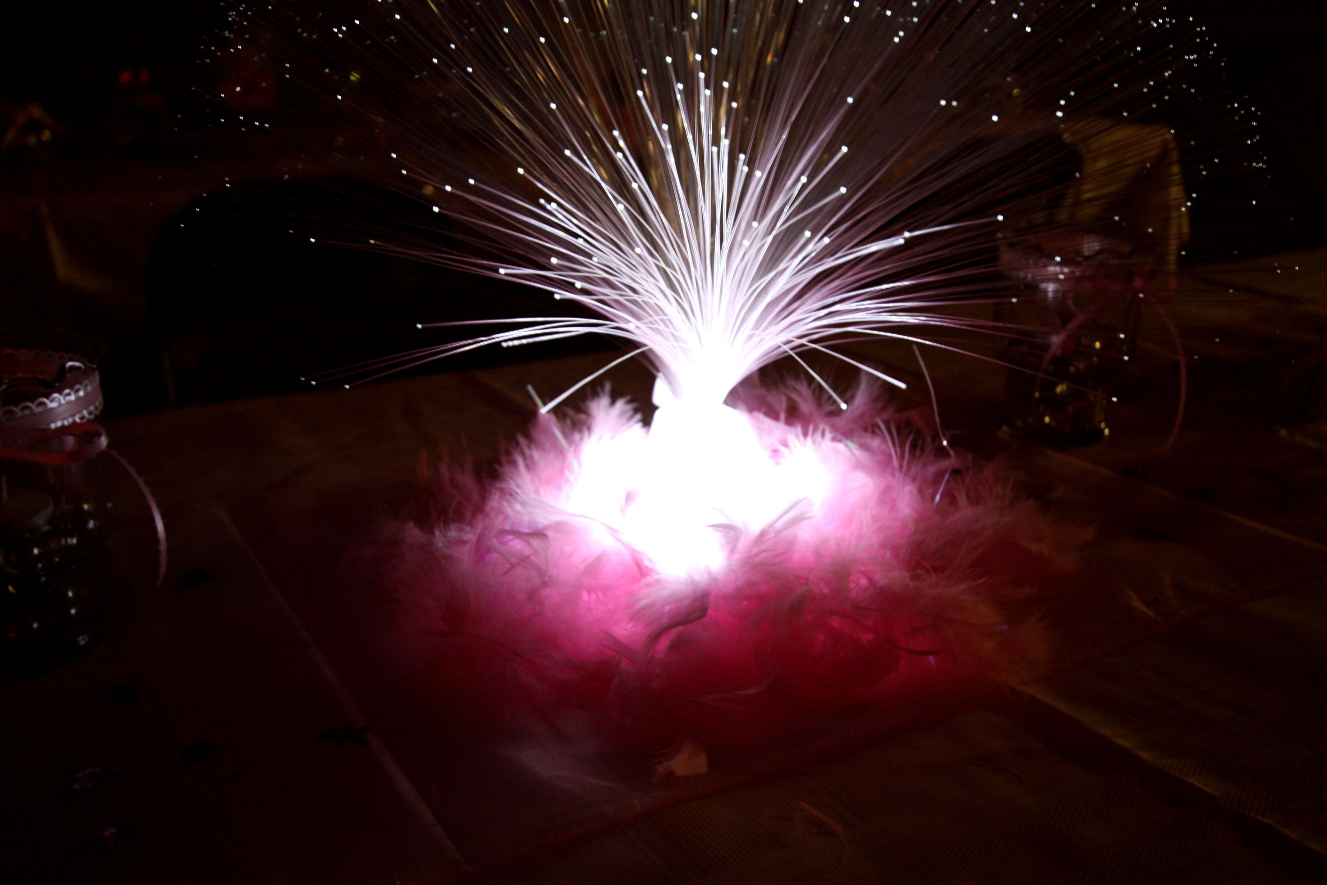 For Table Centerpieces, We Used Inexpensive Fiber Optic Sprays Wrapped