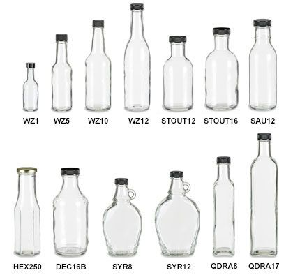 Sauce Bottles with Black Caps