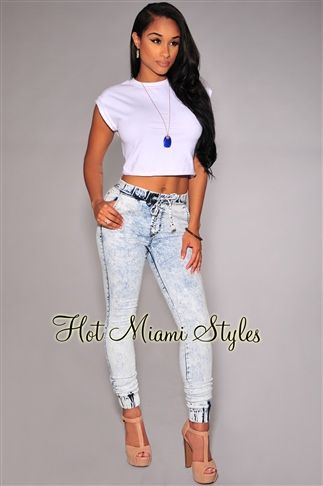 2683bf32280e Acid Wash Denim Jogger Pants Women s clothing hot miami styles  hotmiamistyles hotmiamistyles.com