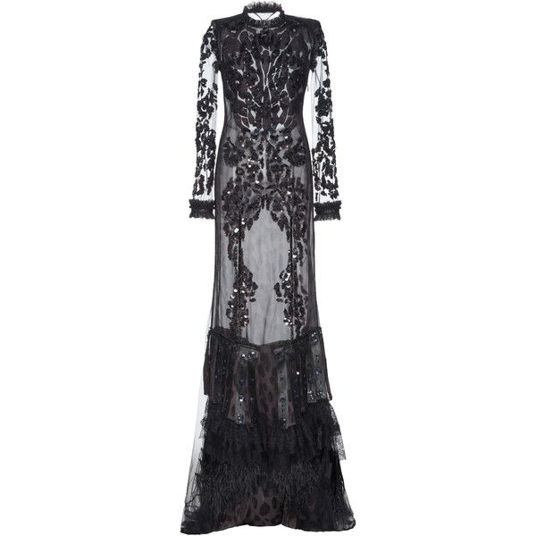 Roberto Cavalli Feathered Hem Gown (€17.050) ❤ liked on Polyvore ...