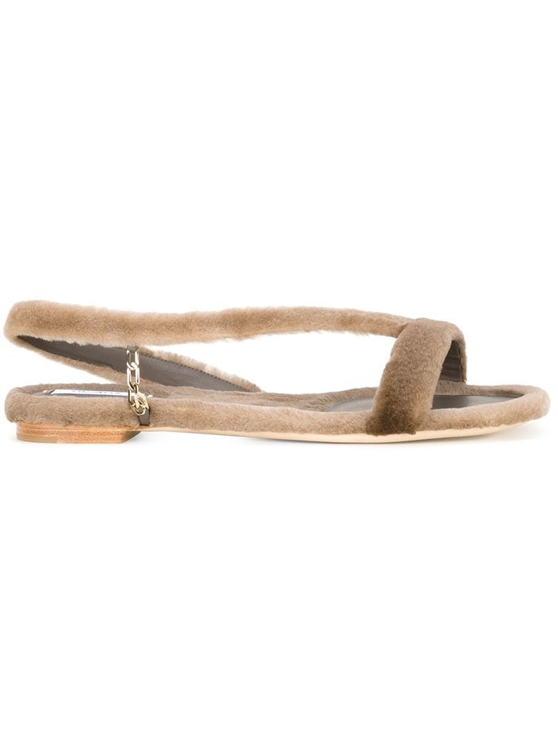 mink fur flat sandals - Nude & Neutrals Olgana Paris 0RmvRSik