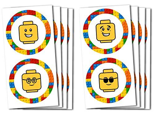24 building blocks minifigure stickers great party favor for a lego birthday party or building