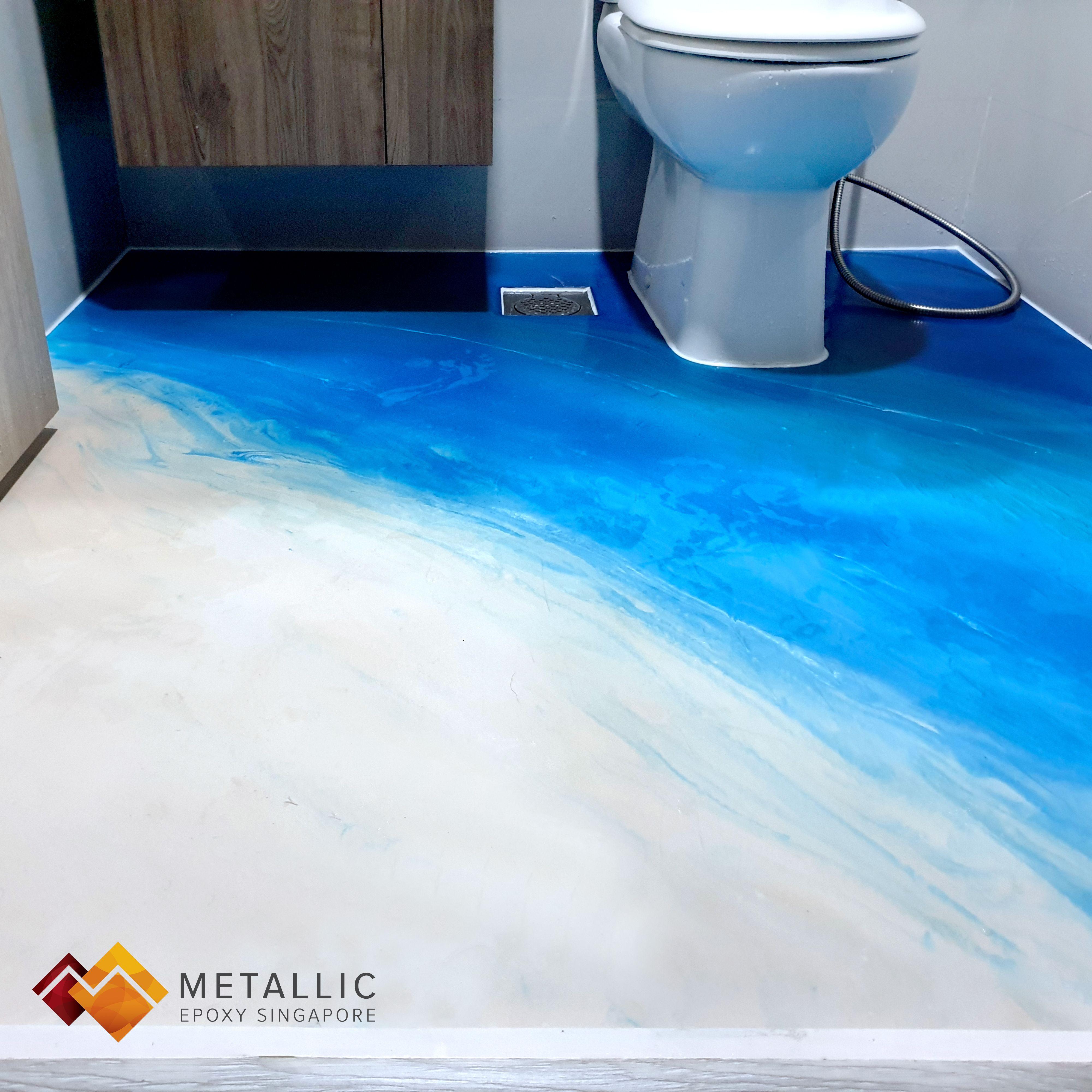 Metallic Epoxy Singapore Beach Theme Bathroom Floor Beach Theme Bathroom Bathroom Flooring Beach Themes