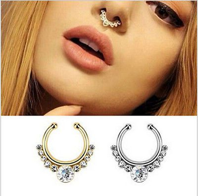 Faux Septum Ring ~ Charms-Fake-Septum-Clicker-Crystal-Nose-Ring-Non-Piercing-Hanger-Clip-On-Jewelry