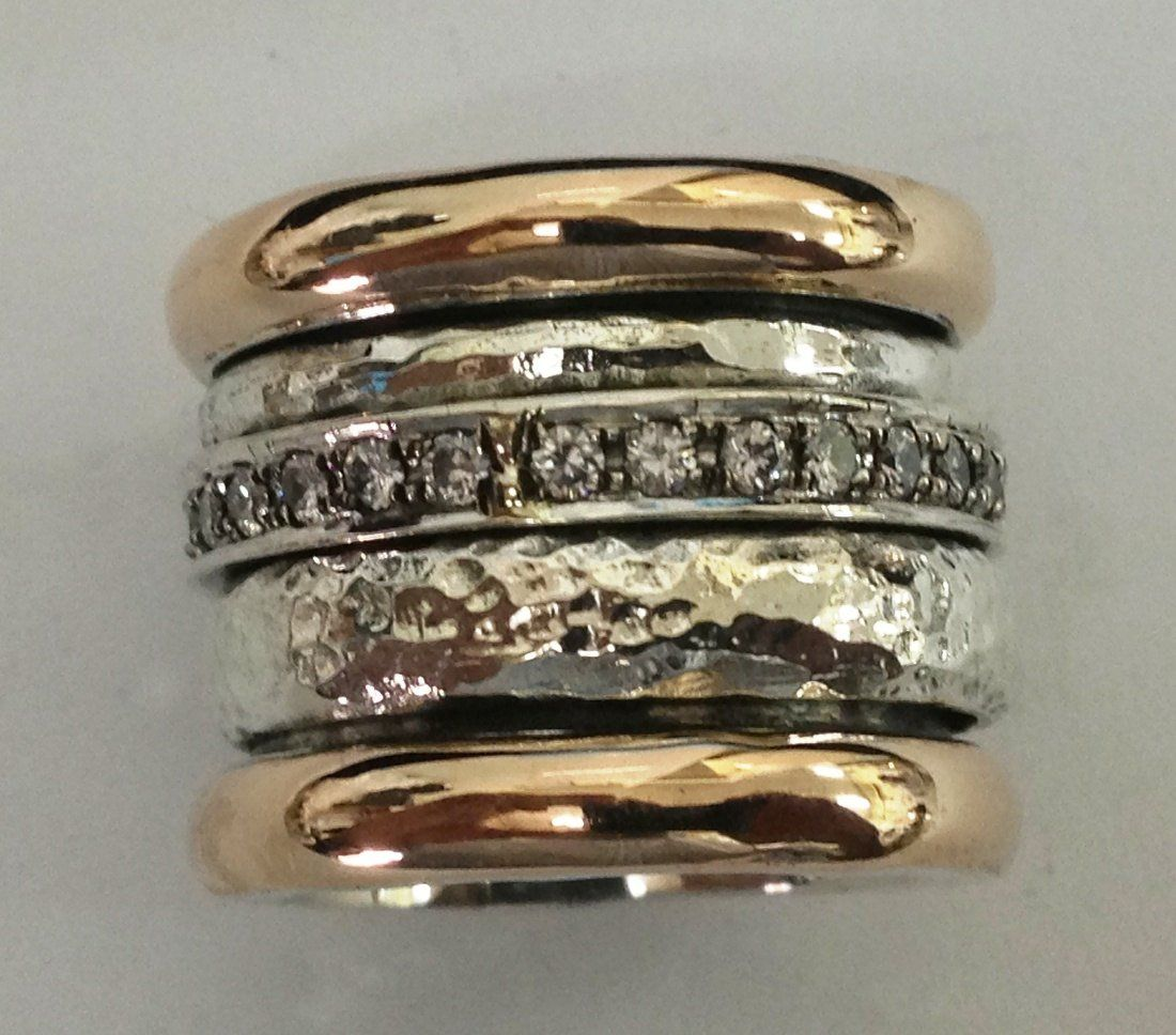 Spinner Ring For Woman Amazing Gold And Sterling Silver Etsy Chunky Silver Rings Real Gold Jewelry Silver Rings