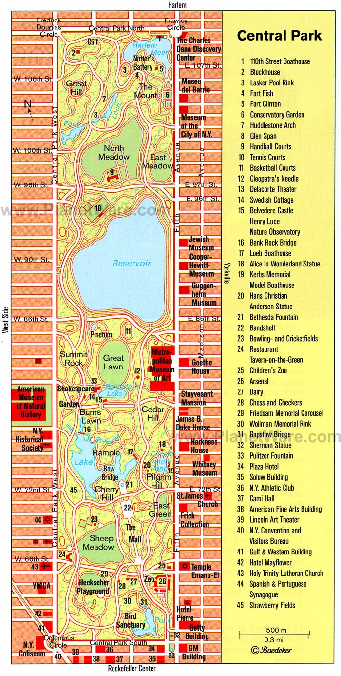 Plano De Central Park HttpwwwplanetwarecomimapUScentral - Map of nyc attractions printable