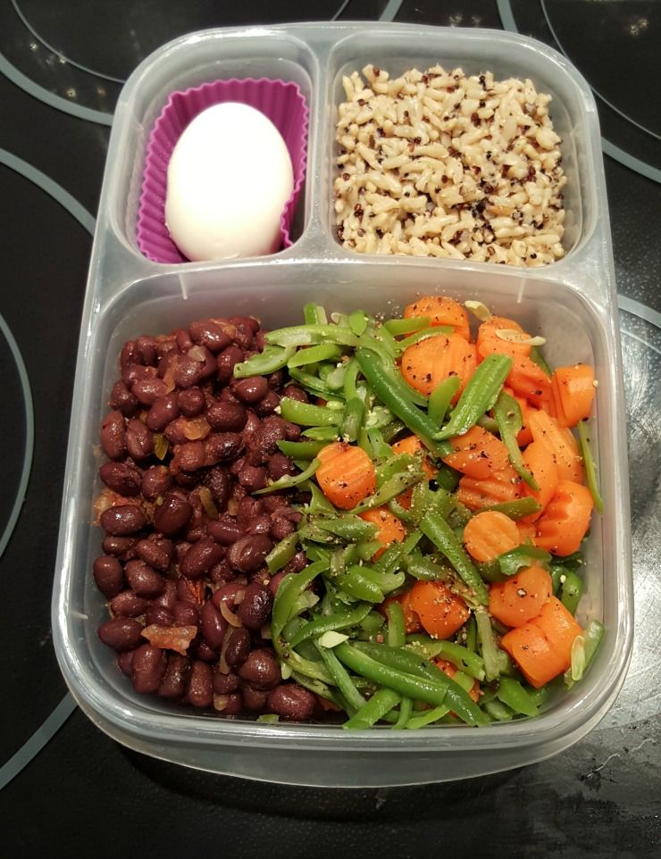 black beans and salsa green beans and carrots brown rice and