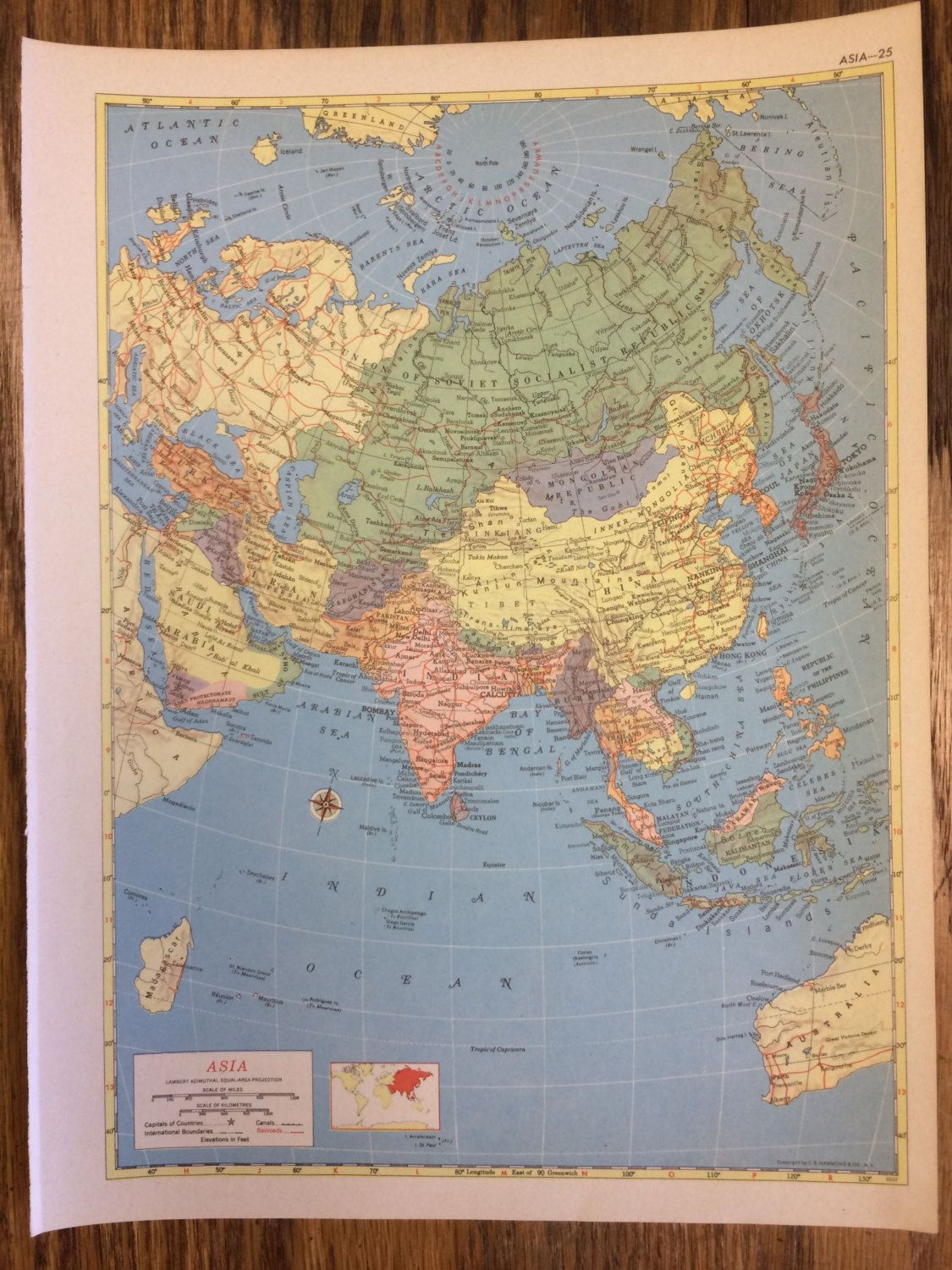 Asia or the near east including turkey saudi arabia iraq iran asia or the near east including turkey saudi arabia iraq iran afghanistan large map 1955 hammonds new supreme world atlas vintage gumiabroncs Image collections
