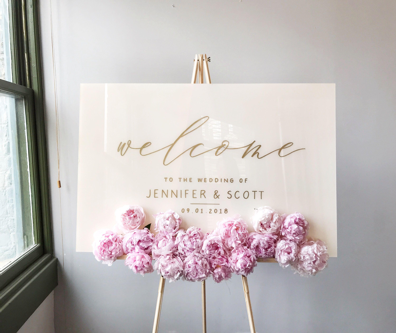Acrylic wedding sign white plexiglass wedding sign