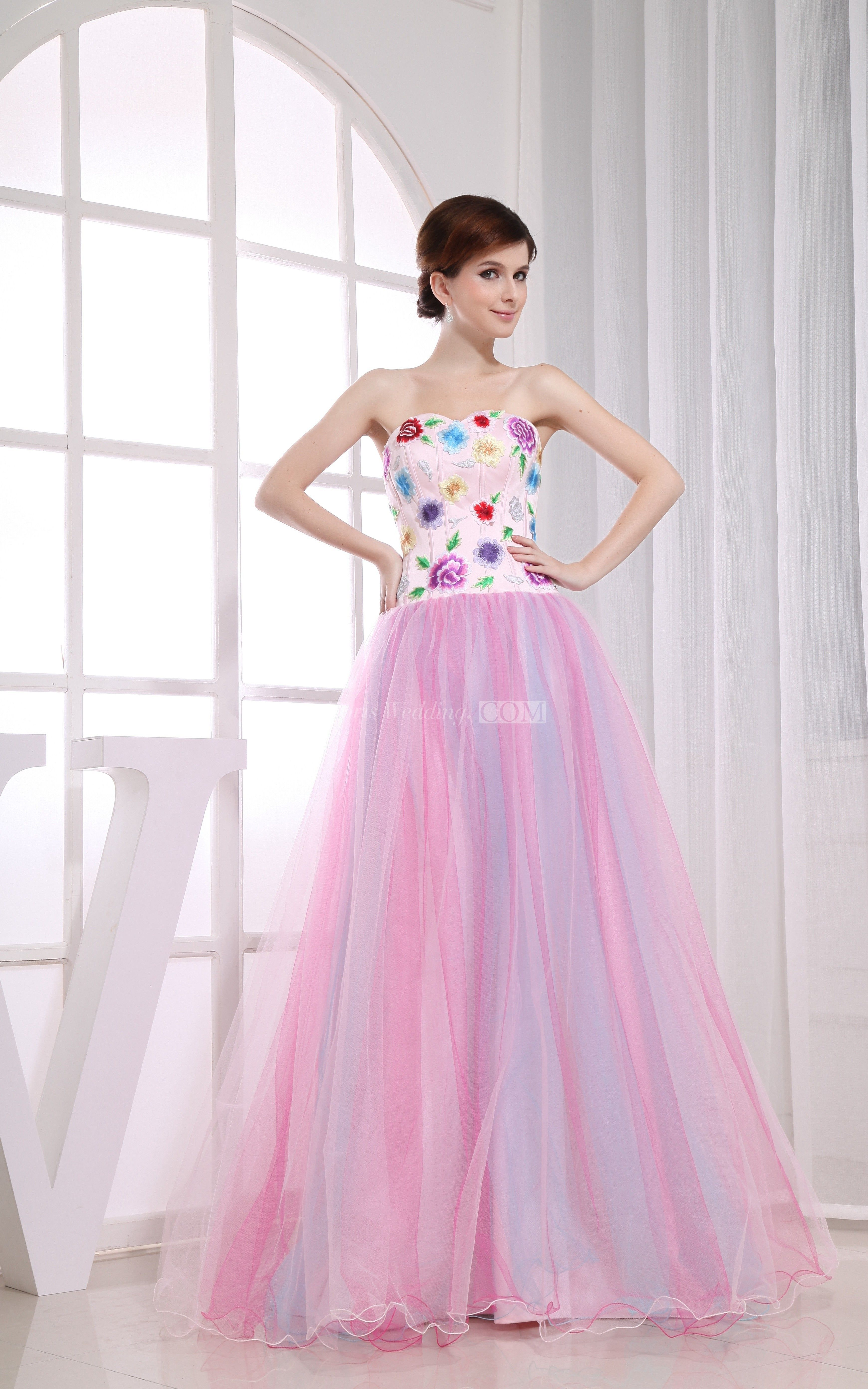 Strapless Embroidered A-Line Long Sweet 16 Dress With Tulle Overlay ...