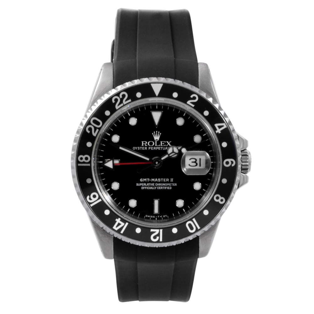 Preowned Rolex Mens GMT Master II Watch Stainless Steel