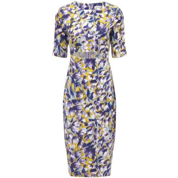 Suno Multi Silk Cut-Out Tulip Dress ($440) ❤ liked on Polyvore featuring dresses, purple, purple silk dress, pencil dress, print dress, floral pencil dress and watercolor dress