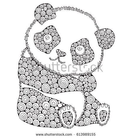 Cute panda. Adult antistress coloring book page. Black and