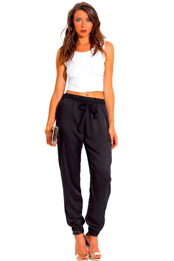 7630bb8af11c1d Cute cheap pants - black stripe satin bow tie sash jogger pants outfit for  women and junior