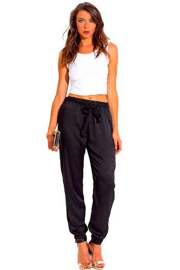 Cute cheap pants - black stripe satin bow tie sash jogger pants