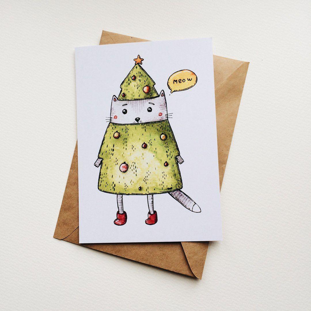 Днем, нарисовать рождественскую открытку оригинальную