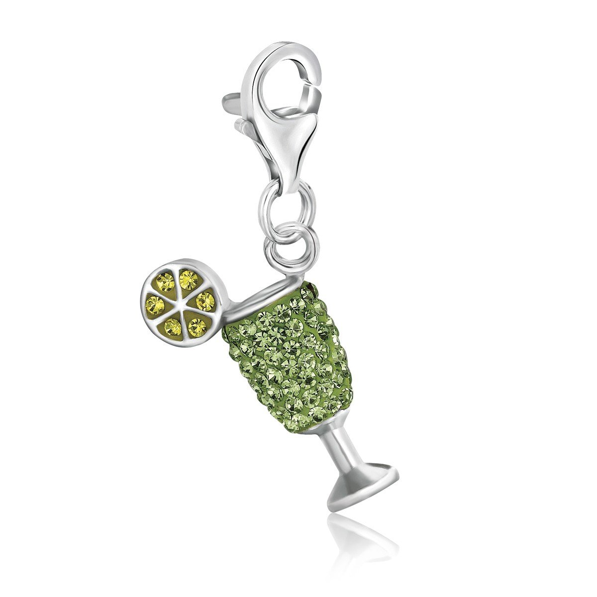 918e67852 Sterling Silver Cocktail Glass Green Tone Crystal Encrusted Charm ...
