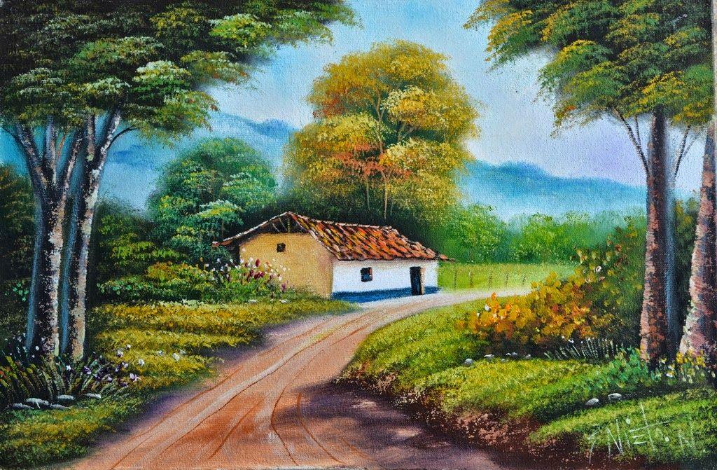 Paisajes casas de campo y bellos paisajes pintados - Paisajes de casas ...