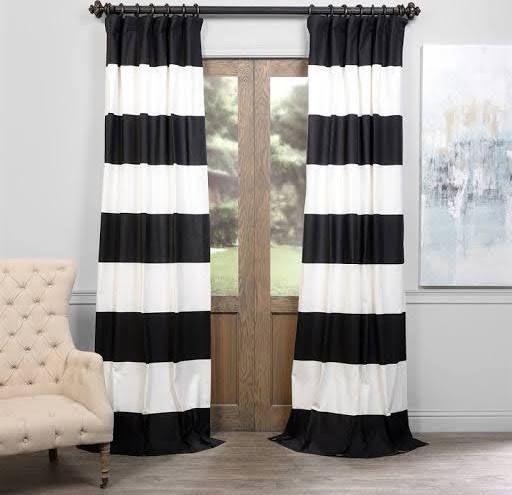 Exclusive Fabrics Cabana Cotton Horizontal Stripe Curtain Panel Dusk Blue OffWhite Size 50 X 84