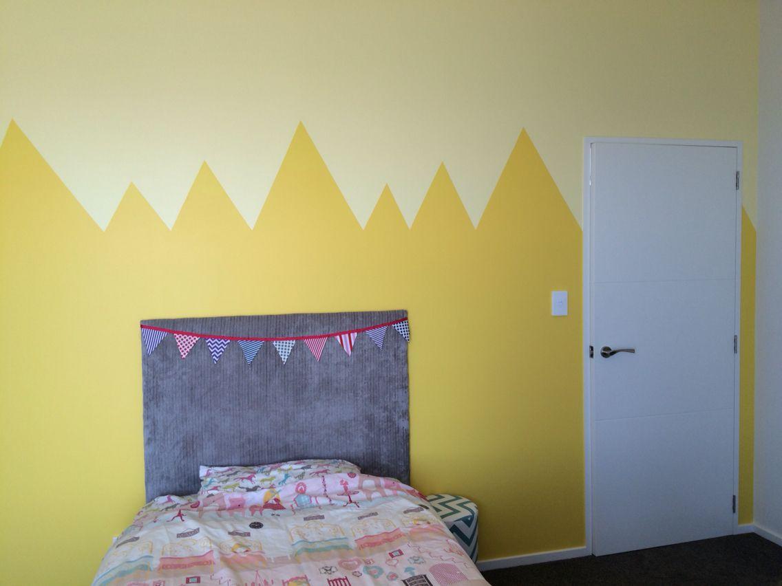 Zig zag mountain half wall paint design yellow girls room | Kids ...