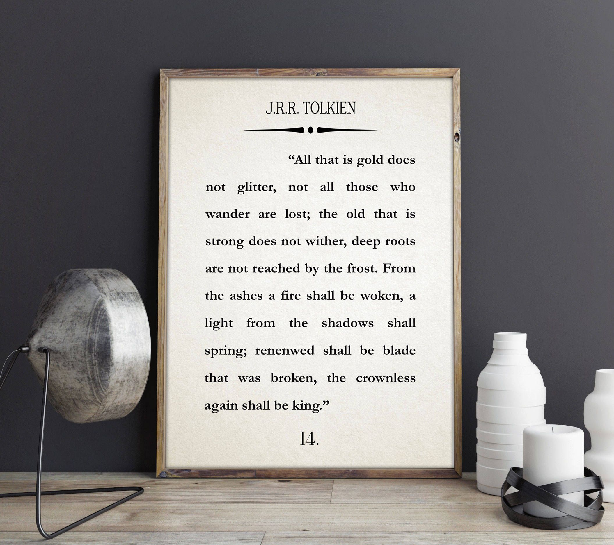 J R R Tolkien Book Wall Art Lord Of The Rings Poster The
