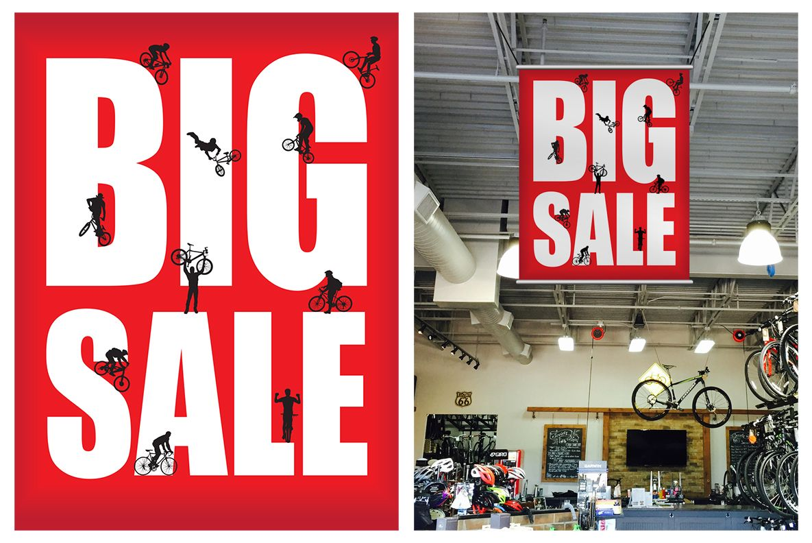 Society Cycle Works Bike Shop Big Sale Sign Designed Printed By