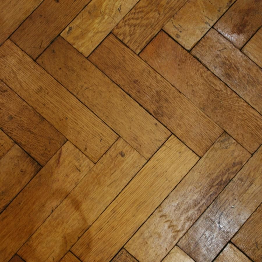 Reclaimed solid English oak parquet flooring. For Sale on