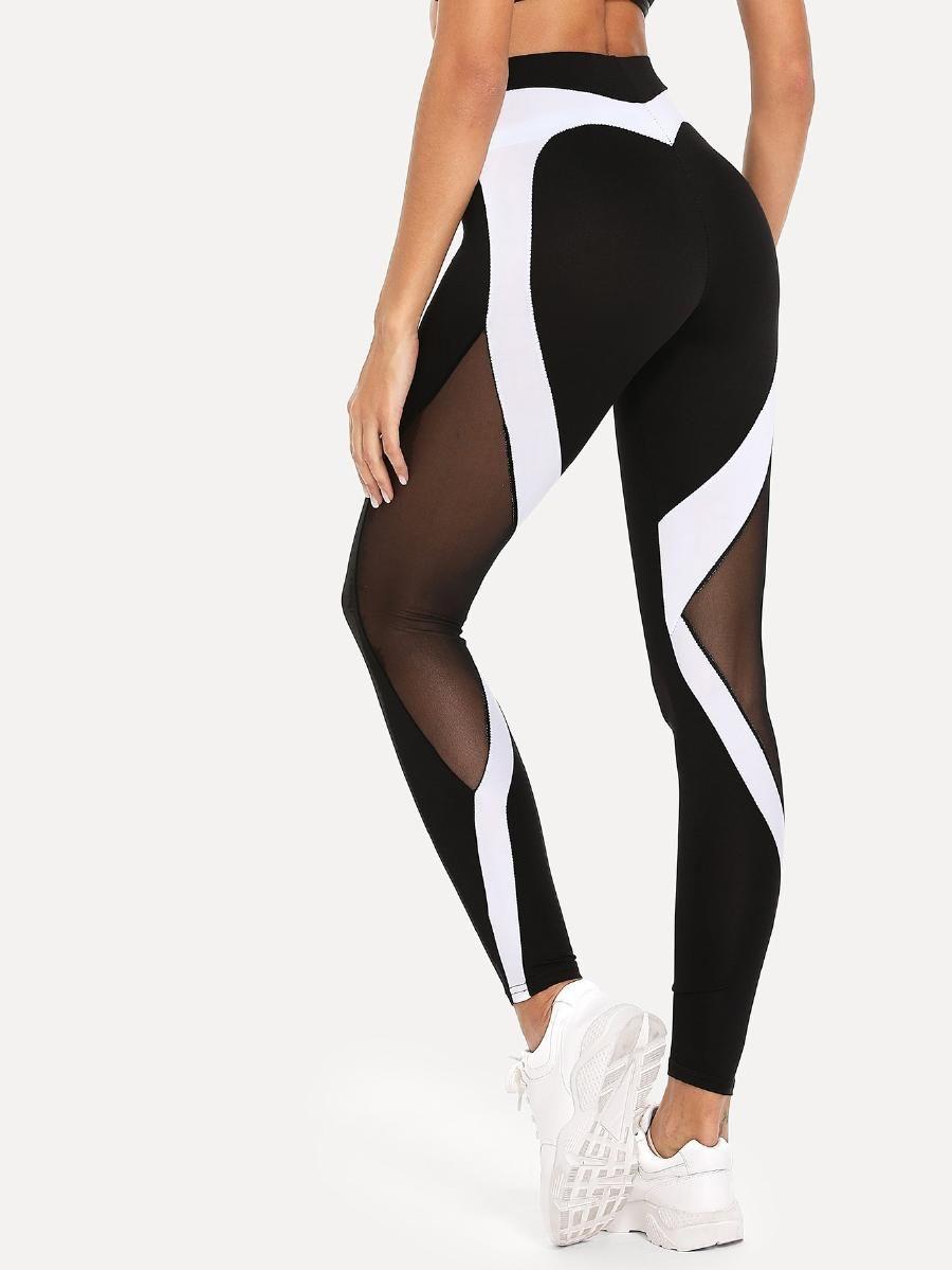 1b1e51c4b4bf2 Sheer Mesh Panel Leggings -SheIn(Sheinside) | Fitness apparel | Mesh ...